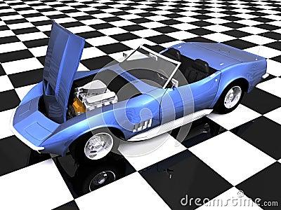 3D Sports car hood up