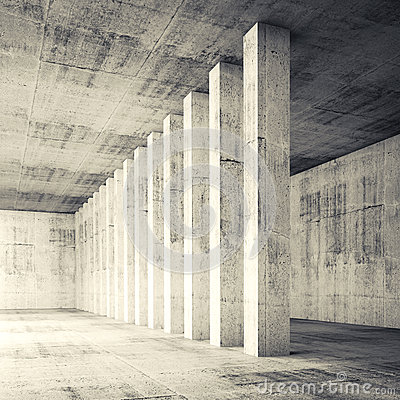 Free 3d Square Empty Interior With Concrete Walls And Columns Royalty Free Stock Photos - 52785648