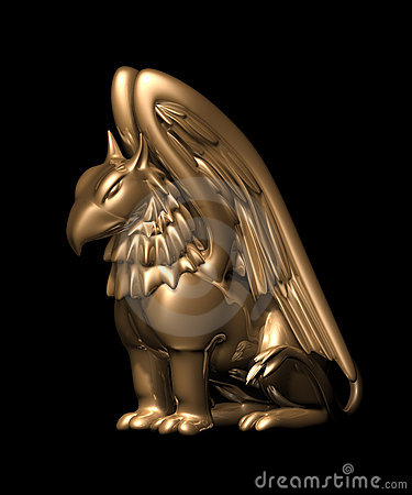 Free 3d Statue Griffin From Gold Stock Photo - 3866360