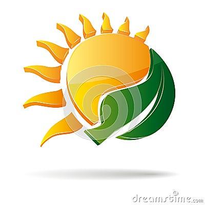 3D  sun and leaf