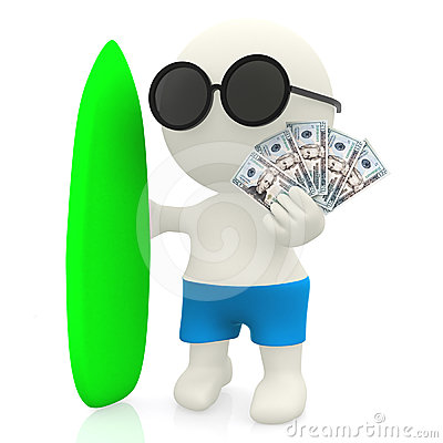 3D surfer with money