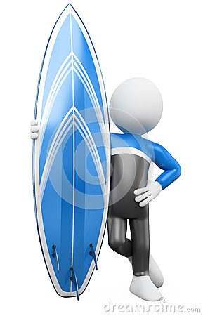 3D Surfer - Posing with surfboard