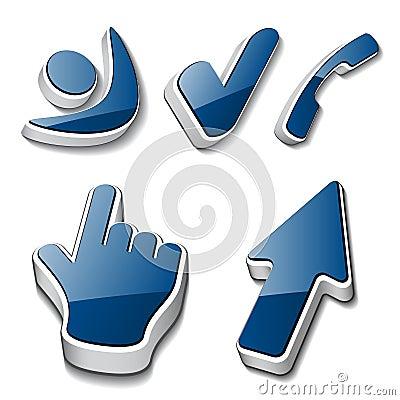 3d symbols human checkmark phone cursor