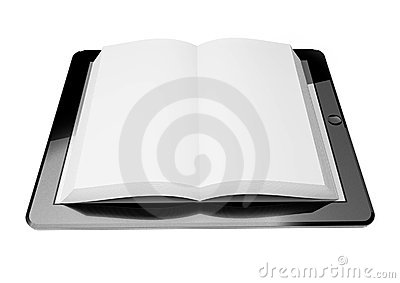 3d tablet pc, concept of ebook