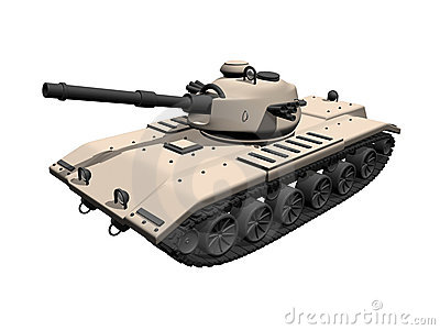 3D tan tank on a white background