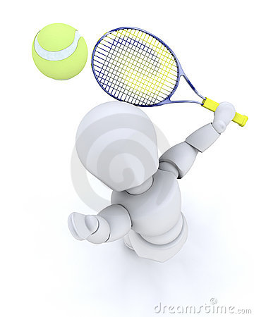 3D tenis player serving
