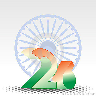 3D text of 26 and Asoka wheel for Republic Day.
