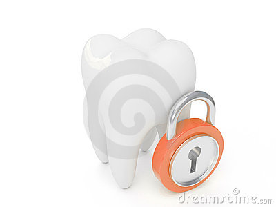 3d tooth and padlock