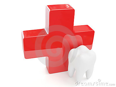 3d tooth and red cross