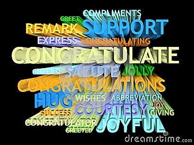3d trail congratulation's word-cloud