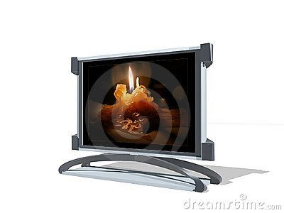 3D TV with candle