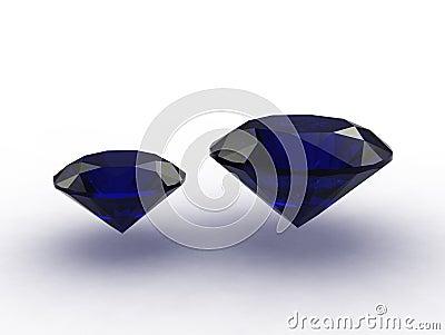 3D - Two cobalt blue sapphire gemstones