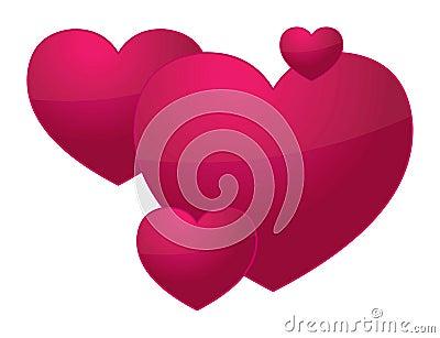 3D Valentine hearts