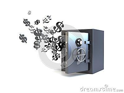 3D vault flying dollars