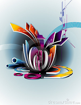 3d vector abstract composition