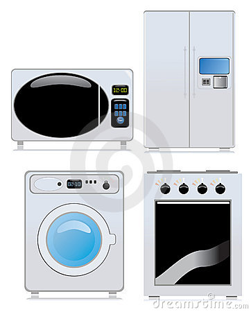 Royalty free stock photo icon with gas stove refrigerator washing