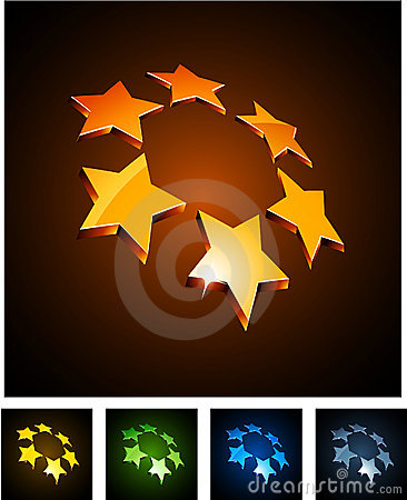 3d vibrant constellation emblems.