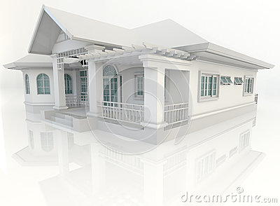 3D vintage house exterior design with refelction in white backgr