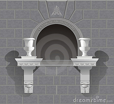 3D wall niche shrine in vector