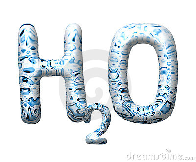 3D water drop letter H2O