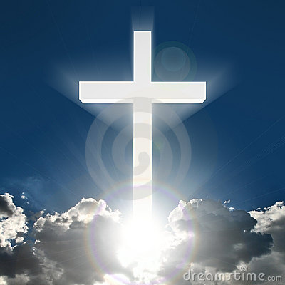 3D white cross in sky