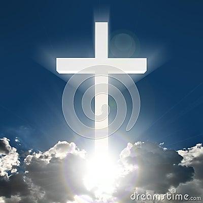 3D white cross in sky
