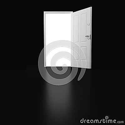 3d white door on black background