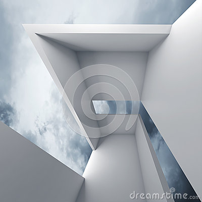 Free 3d White Futuristic Interior And Blue Cloudy Sky Royalty Free Stock Images - 54405379