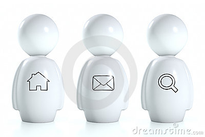 3d white humans with web symbols