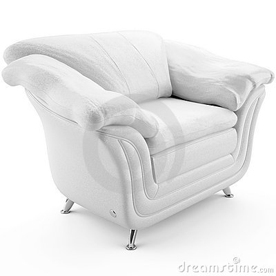 3d white leather armchair 45 degree