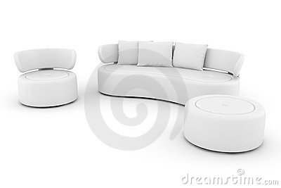 3d white leather couch isolated on white