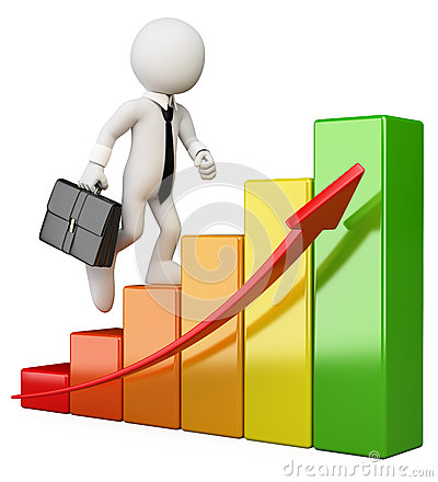 Free 3D White People. Businessman Climbing A Bar Graph Stock Images - 31185294