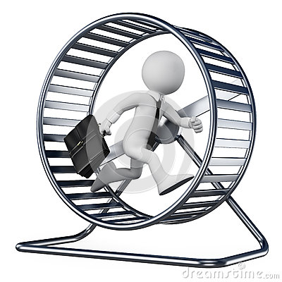 Free 3D White People. Businessman In A Hamster Wheel Stock Image - 32655521