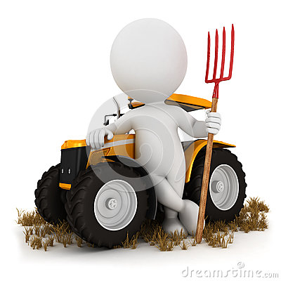 3d white people farmer