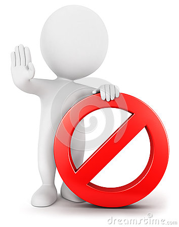 3d white people with forbidden sign, isolated white background, 3d