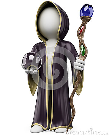 3D white people. Halloween sorcerer costume