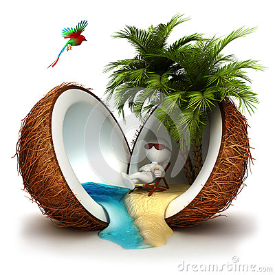 Free 3d White People In A Coconut Paradise Royalty Free Stock Images - 28445229