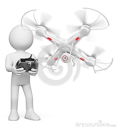 Free 3D White People. Man Flying A Drone With Camera Royalty Free Stock Photos - 49018068
