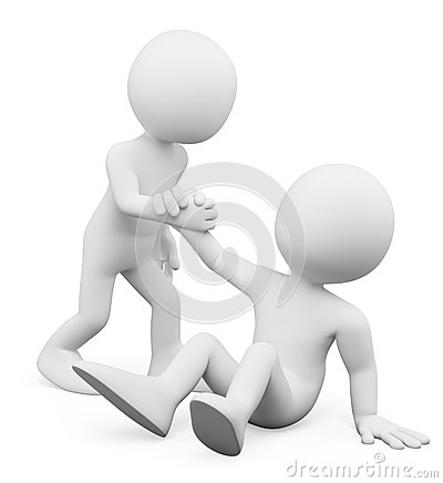 Free 3D White People. Man Helping A Fellow Up. Concept Of Fellowship Royalty Free Stock Image - 50596396