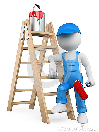 Free 3D White People. Painter With Ladder Royalty Free Stock Images - 31603339
