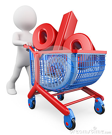 Free 3D White People. Percent Rate Trolley Concept. Discount Royalty Free Stock Photo - 43960745