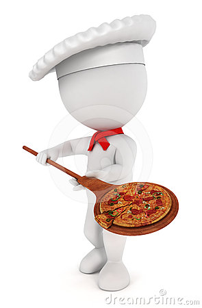 3d White People Pizza Cook Royalty Free Stock Photos