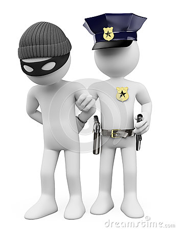 Free 3D White People. Police And Thief Royalty Free Stock Images - 41525909