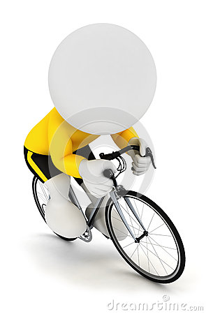 3d white people racing cyclist