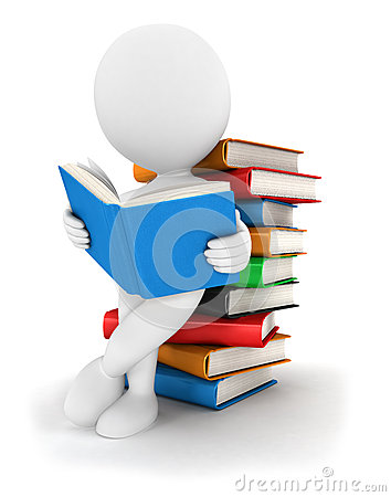 Free 3d White People Reads A Book Royalty Free Stock Images - 26148609