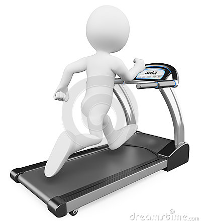 3D white people. Running on a treadmill