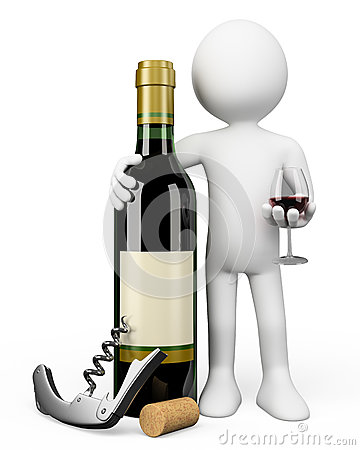 3D white people. Sommelier