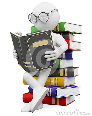 Free 3D White People. Student Reads A Book Royalty Free Stock Images - 26460279