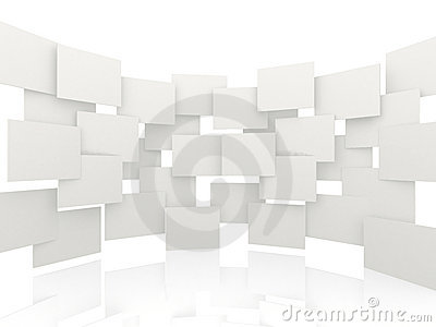 3d white rectangles background