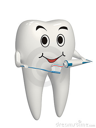3d white tooth brushing his teeth - isolated icon